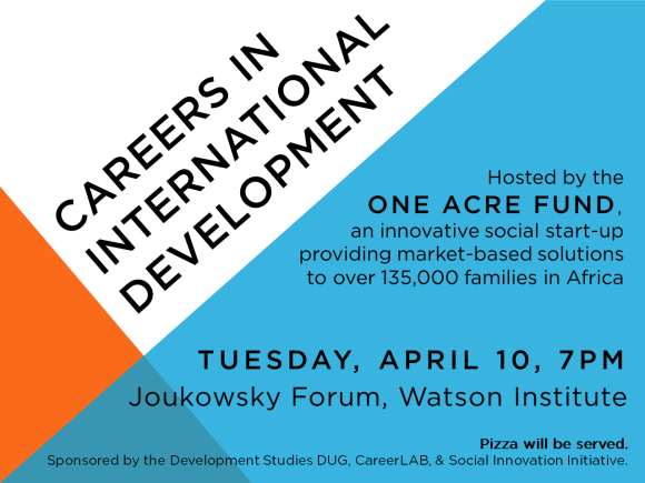 Careers in International Development, 4/10 at 7pm